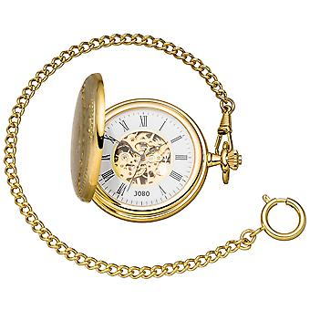 JOBO pocket watch skeleton with chain hand winding gold plated 2 jump lid