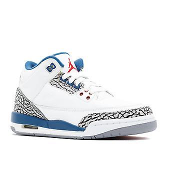 Air Jordan 3 Retro (Gs) 'True Blue 2011 Lançamento' - 398614 - 104 - sapatos