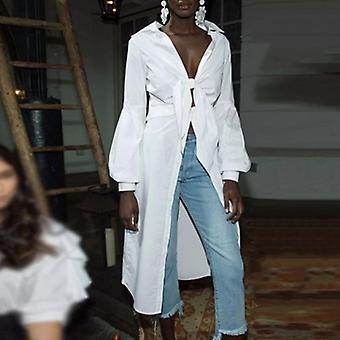 Bow Long Shirts Lace Up Tunic Deep V Necck Lantern Sleeve