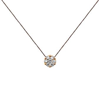Choker Flower Cluster 18K Gold and Diamonds, on Thread - Rose Gold, WarmGrey