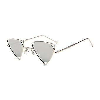 Triangulära hipster solglasögon i silver spegel