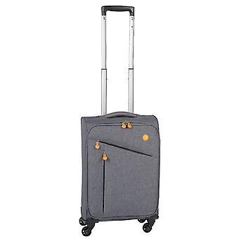 Controleren. IN Lissabon Handbagage Trolley S, 4 wielen, 55 cm, 33 L, grijs-oranje