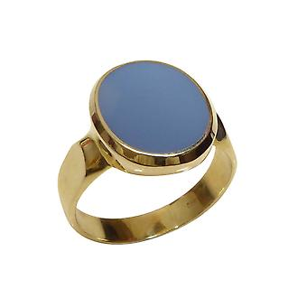 Gold cachet ring with blue layer stone