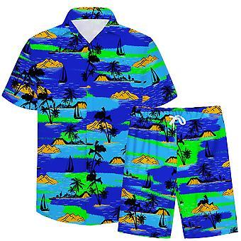 Allthemen Men's 3D Colorful 2-Pieces Casual Beach Shirt&Shorts