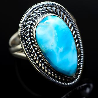 Larimar Ring Size 7.75 (925 Sterling Silver)  - Handmade Boho Vintage Jewelry RING11306