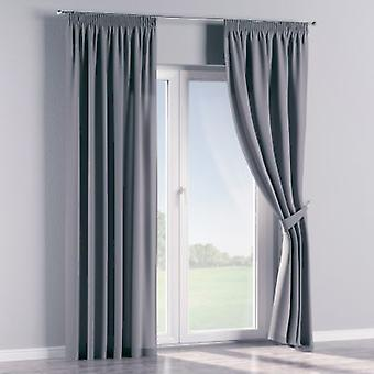 Vorhang mit Kräuselband, grau, 130 × 260 cm, Cotton Panama, 702-07