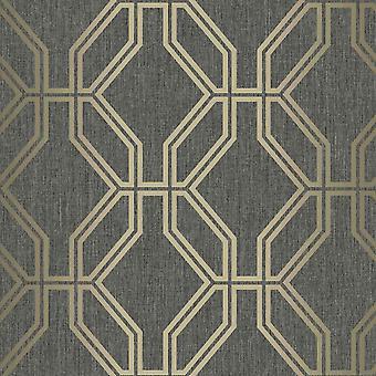 Highgrove Trellis Duplex Wallpaper Zwart / Gold Rasch 275284