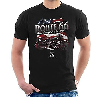 Route 66 US Flag & Motorcycle Men's T-Shirt