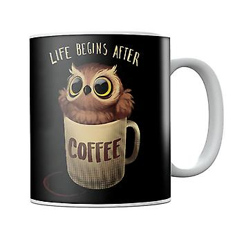 Life Begins After Coffee Night Owl Mug