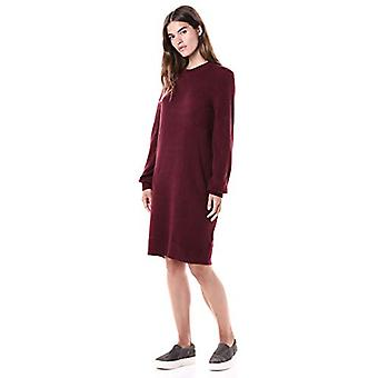 Marca - Daily Ritual Women's Mid-Gauge Stretch Crewneck Sweater Dress, Borgonha , Grande