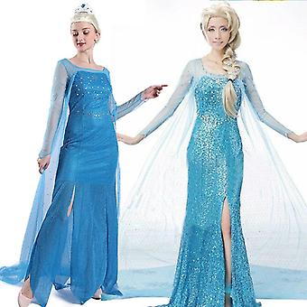 Femmes Elsa Frozen Snow Queen Cosplay Party Fancy Dress Costume - Bleu