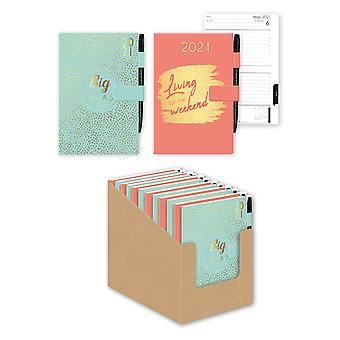 2021 Magnetic Closure A5 Diary Pink Green Soft Touch Faux Leather
