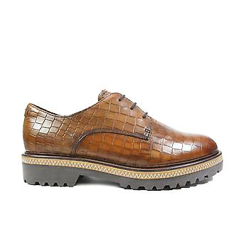 Tamaris 23723 Brown Textured Leather Womens Lace Up Shoes