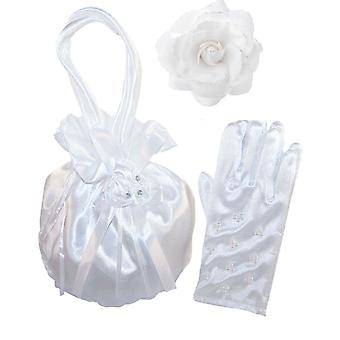 Girls white satin drawstring dolly bag and pearl gloves set
