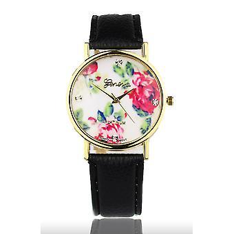 Black Women's Watch from Geneva flower swarovski crystal leather