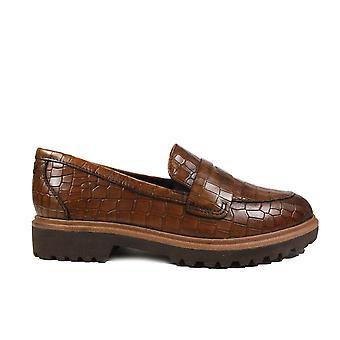 Tamaris 24702 Brun Croc Texturerat Läder Womens Slip På Loafer Skor