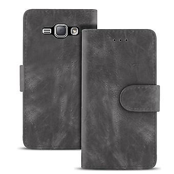 Vintage sleevewith card compartment for Samsung Galaxy J1 (2016) Stylish TPU Magnetic Lock Grey