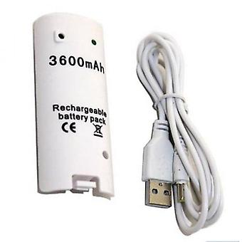 White 3600mah Rechargeable Battery Charger Cable For Nintendo Wii Remote Controller