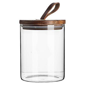 Vaso di vetro con contenitore di stoccaggio del coperchio in legno - Rotondo stile scandinavo Canister - 750ml