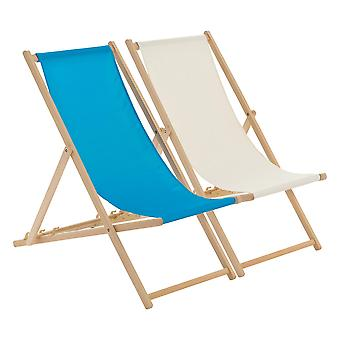 Traditional Adjustable Beach Garden Deck Chairs - Light Blue / Cream