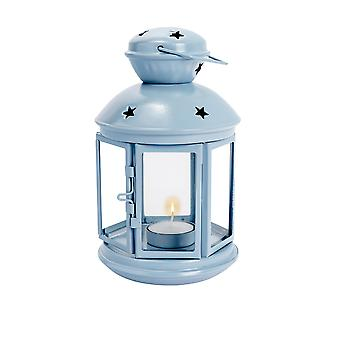 Nicola Spring Candle Lanterns Tealight Holders Vintage Metal Hanging Indoor Outdoor - 20cm - Blue