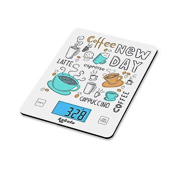 Kabalo Coffee Design Kitchen Household Food Cooking Weegschaal 5kg capaciteit 5000g/1g, batterijen inbegrepen! Flat Slim Design, Premier LCD Digital Electronic, met blauwe achtergrondverlichting Chef Bakken Baker Bake Wegen
