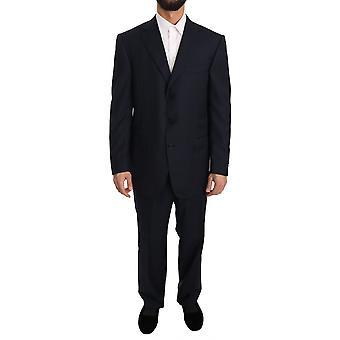 Ermenegildo Zegna blau Streifen zwei Stück 3 Knopf Wolle Anzug