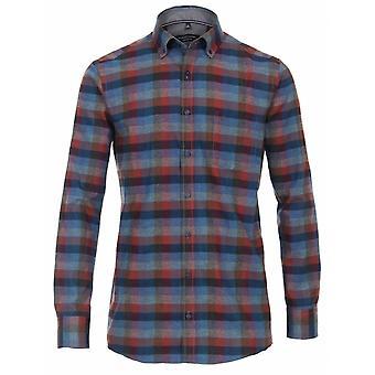 CASA MODA Casa Moda Geborsteld Katoen Casual Shirt
