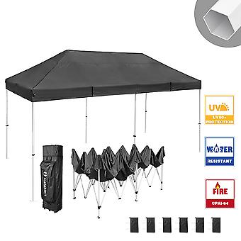 Instahibit 10x20 ft Pop Up Canopy Tent CPAI-84 Commercial Ez Pop up Canopy Shade Trade Fair Party Tent 1680D Roller Bag