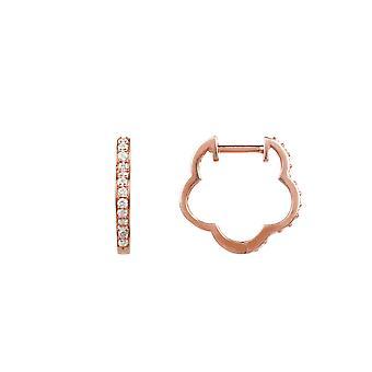 Diamond Huggie Hoops Flower Clover Earrings Bridal Wedding Pink Rose Gold White