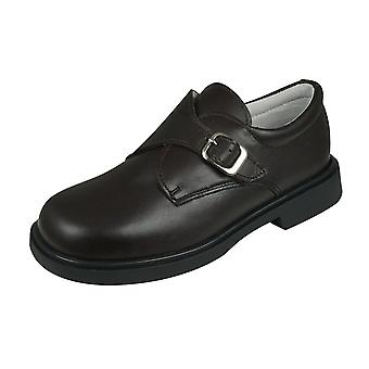 Cool Boys Fergus Leather Smart Shoes Hook and Loop - Brown