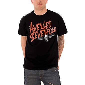 Avenged Sevenfold T-paita oranssi Splatter Death bat Band logo Official Mens