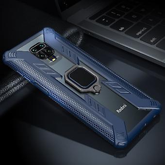 Keysion Xiaomi Redmi Huomautus 9 Pro Kotelo - Magneettinen iskunkestävä kotelon kansi Cas TPU Sininen + Jalusta