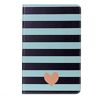 Pour Galaxy Tab A 10.1 (2016) / P580 Gray stripe and Heart Pattern Horizontal Flip Leather Case with Holder & Fentes de carte & Portefeuille