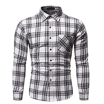 Yunyun Men's Lapel Slim Fit Pocket Button Down Long Sleeve Casual Lattice Shirt