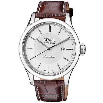 Gevril Five Points Men's Swiss Automatic Silver Dial Black Calfskin Leather Watch