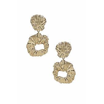 Brincos abstratos de folha de ouro