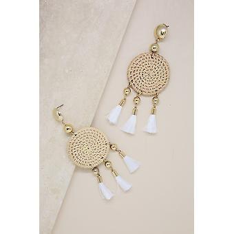 Boho Woven, Natural White Tassel-18k Gold Plated Earrings