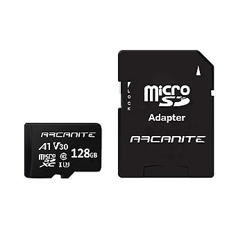 Card de memorie microsdxc Arcanite 128gb cu adaptor - uhs-i u3, a1, v30, 4k, c10, micro sd, optim re