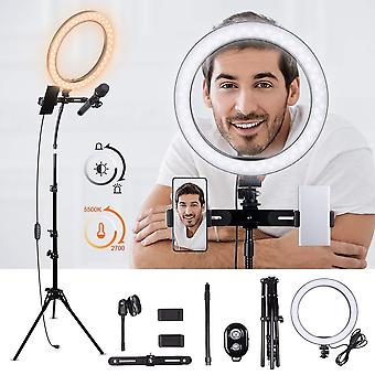 "K&f concept 10"" led ring light with maximum 95"" tripod stand, 3 phone holders and clips, remote"