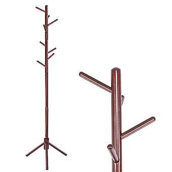 Rack de casaco em pé - madeira marrom - 8 ganchos - 42x175 cm
