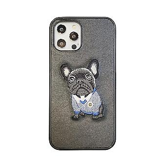 iPhone 12 & 12 Pro Shell with embroidered pug artificial leather dog