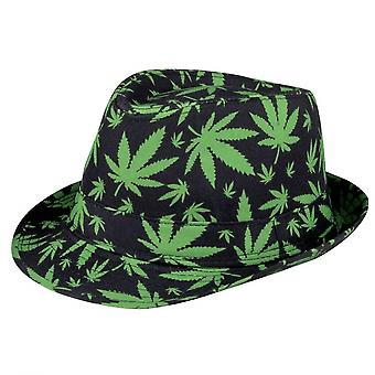 Hat With Grass-Print Black / Green