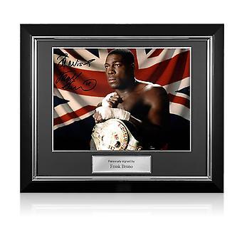 Frank Bruno signerade boxningsfoto: WBC World Heavyweight Champion. Deluxe ram