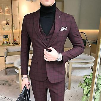 Men Dress Suits 3piece Wedding Suit Autumn Business Formal Dress
