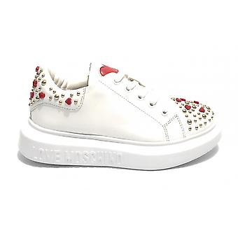 Women's Shoes Love Moschino Sneaker White Leather With Studs Ds21mo06 Ja1224