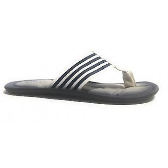Men's Shoes Elite Slipper Flip Flops Band E Suede White Blue Us17el19