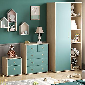 Neptune 3 Piece Bedroom Furniture Set, Bedside Table, Chest of Drawers, Wardrobe Two-tone, Blue & Oak