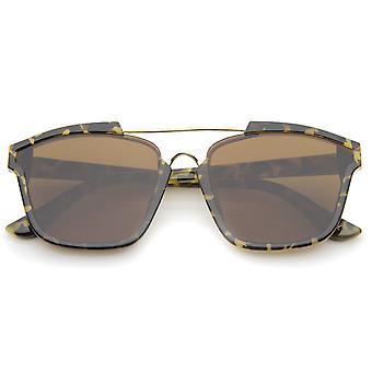 Moderne semi-montuurloze hoorn omrande dwarsbalk Flat Lens Square zonnebril 58 mm