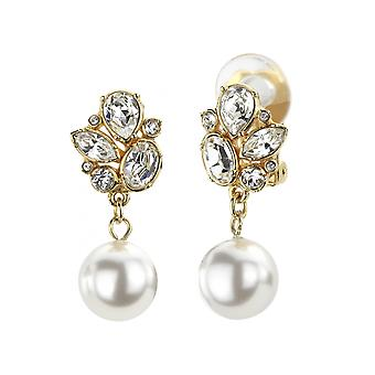 Traveller Drop Clip Earrings - Hanging -  White pearls - 22ct gold plated - 114195